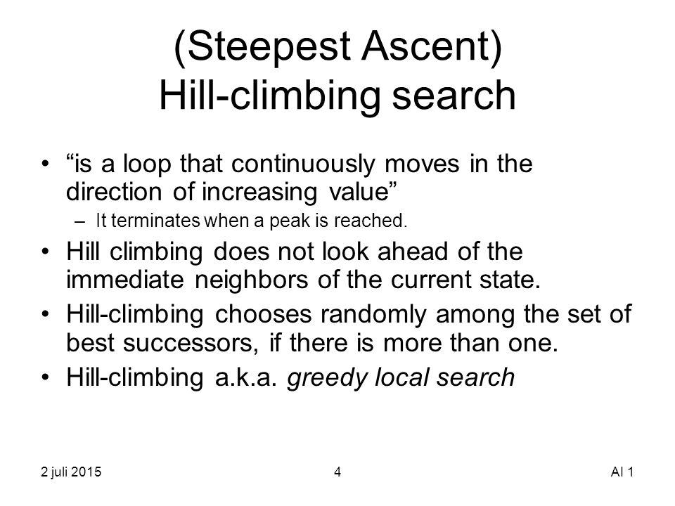 Hill climbing in artificial intelligence ppt