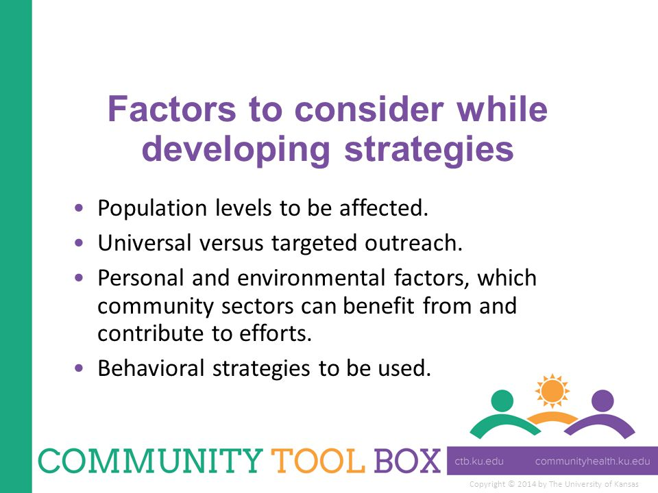 Factors to consider while developing strategies