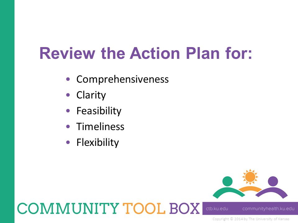 Review the Action Plan for: