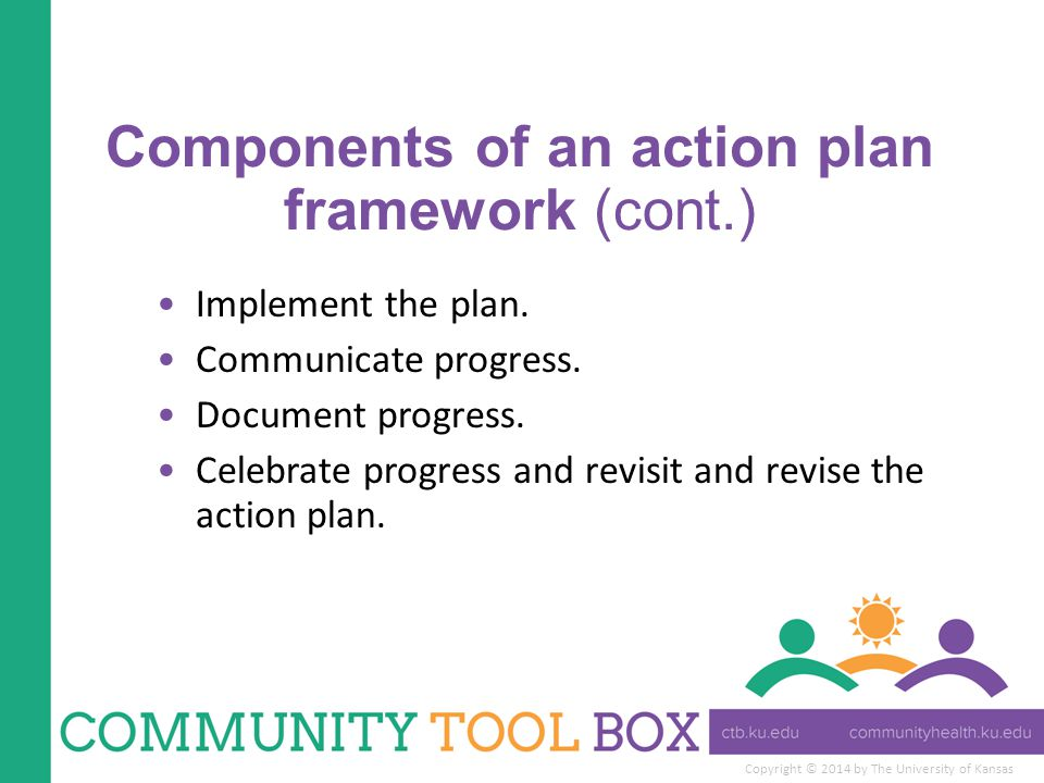 Components of an action plan framework (cont.)