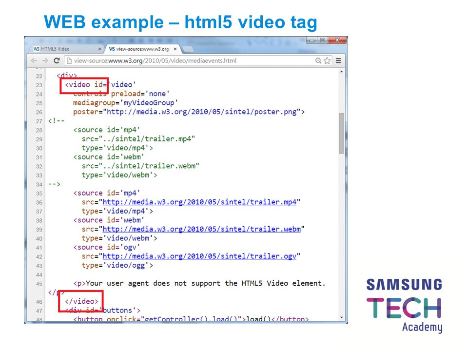 WEB example – html5 video tag