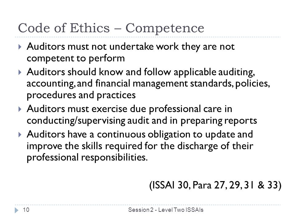 Code of Ethics – Competence
