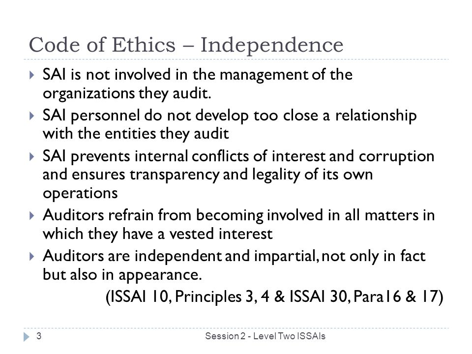 Code of Ethics – Independence