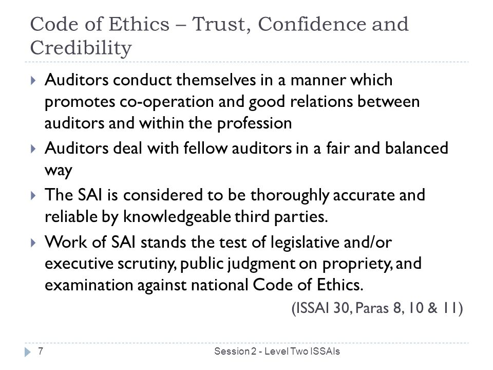 Code of Ethics – Trust, Confidence and Credibility
