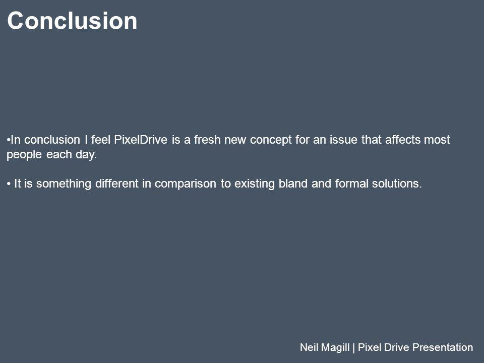 Conclusion In conclusion I feel PixelDrive is a fresh new concept for an issue that affects most. people each day.