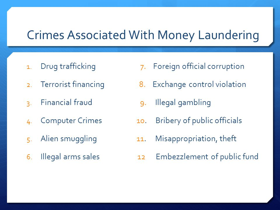 Crimes Associated With Money Laundering