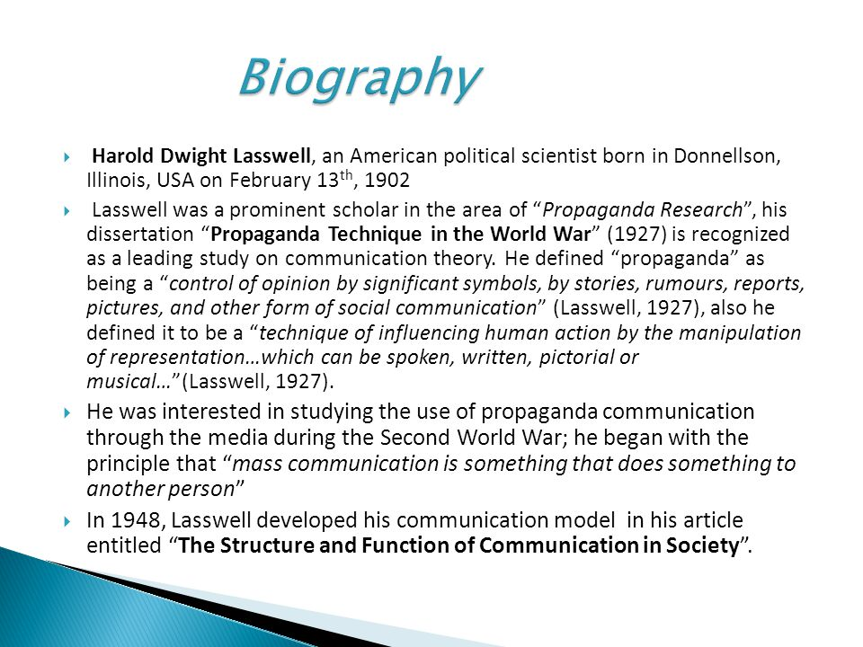 lasswell model example