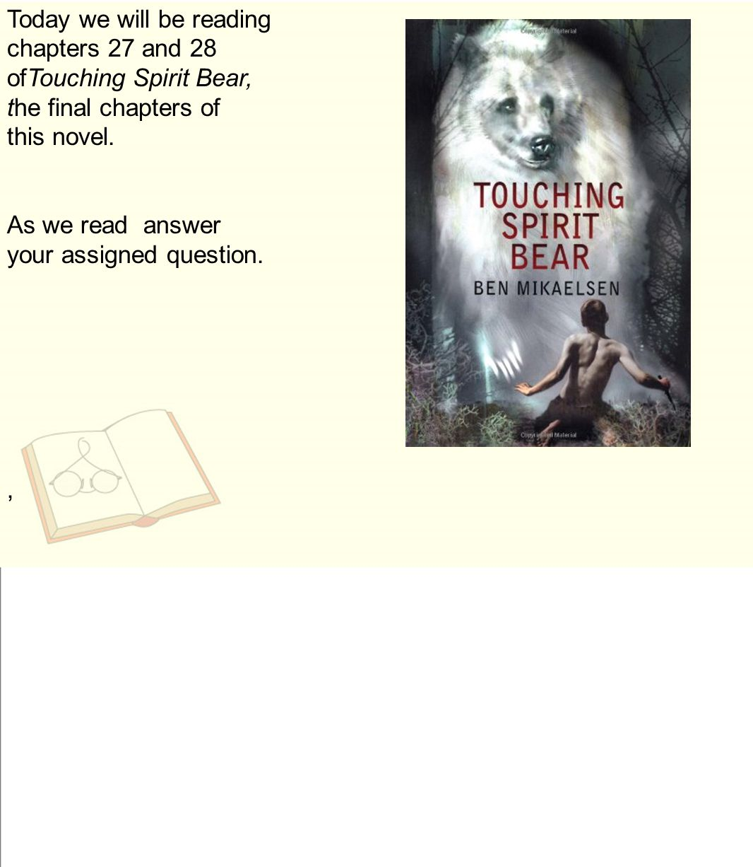 answers to touching spirit bear questions