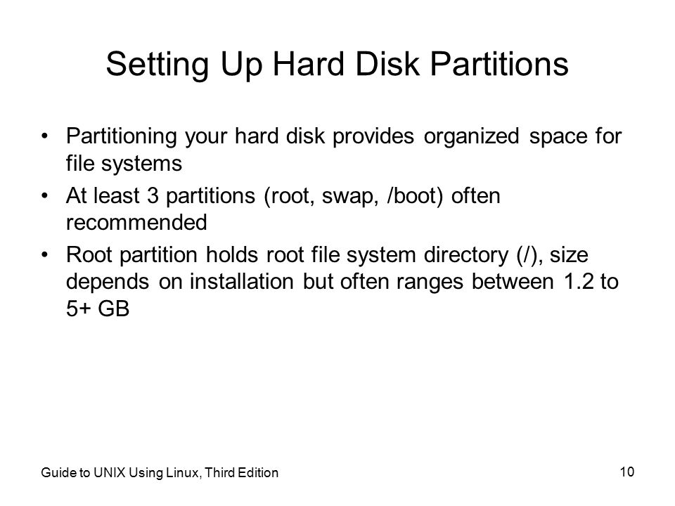 Setting Up Hard Disk Partitions