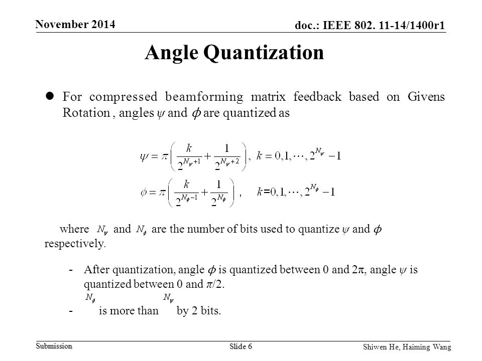 Angle Quantization For compressed beamforming matrix feedback based on Givens Rotation , angles ψ and ϕ are quantized as.