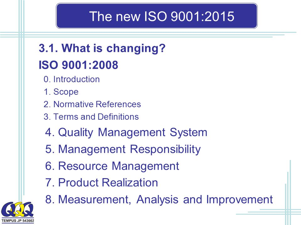 The new ISO 9001: What is changing ISO 9001:2008