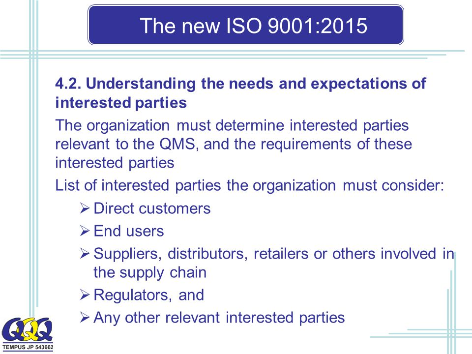 The new ISO 9001: Understanding the needs and expectations of interested parties.