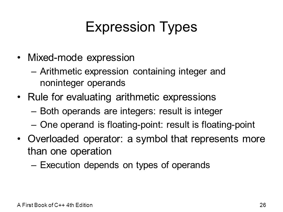 Expression Types Mixed-mode expression