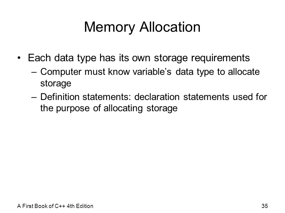 Memory Allocation Each data type has its own storage requirements
