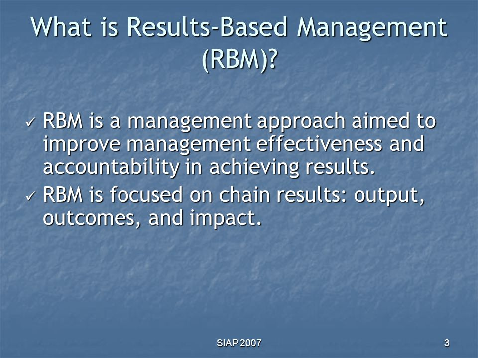 What is Results-Based Management (RBM)
