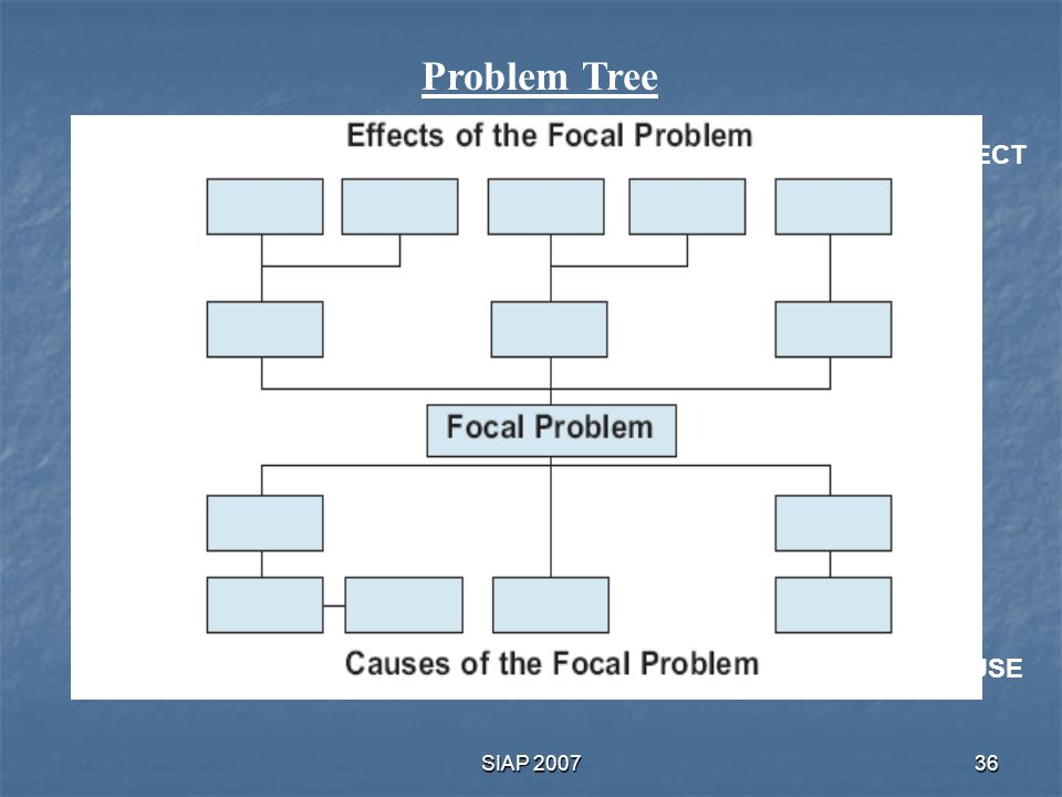 Problem Tree EFFECT CAUSE SIAP 2007