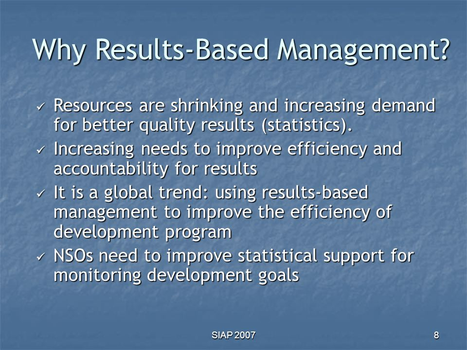 Why Results-Based Management