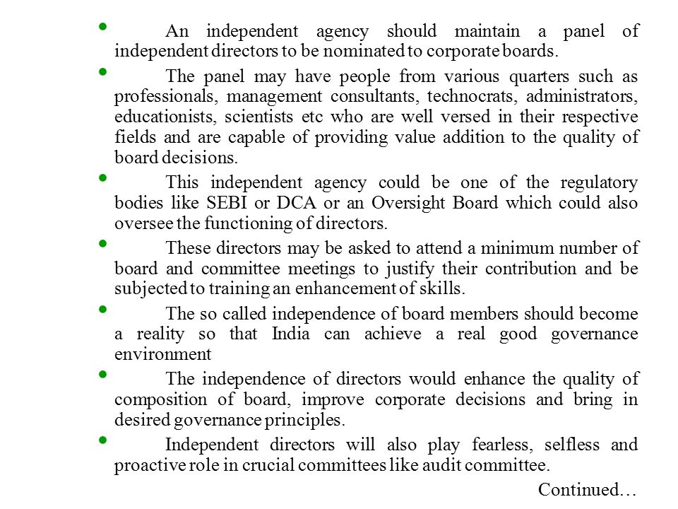 role of independent directors in corporate governance pdf