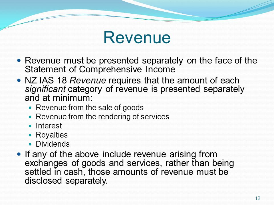 Revenue Revenue must be presented separately on the face of the Statement of Comprehensive Income.