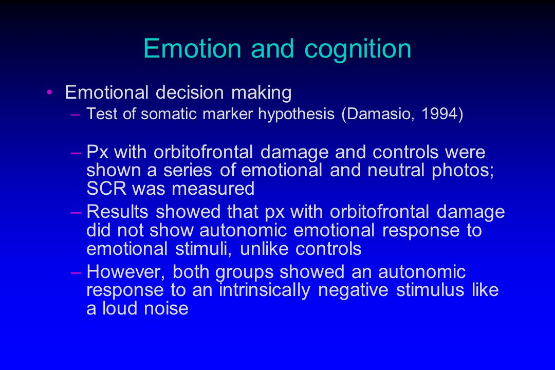 damasio somatic marker hypothesis