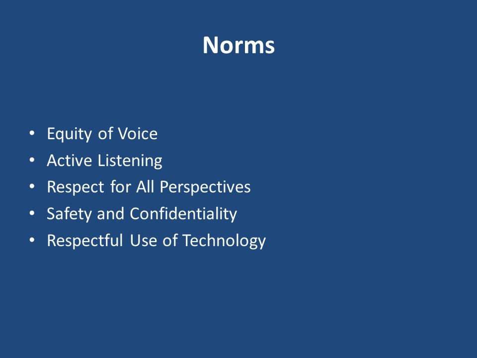 Norms Equity of Voice Active Listening Respect for All Perspectives