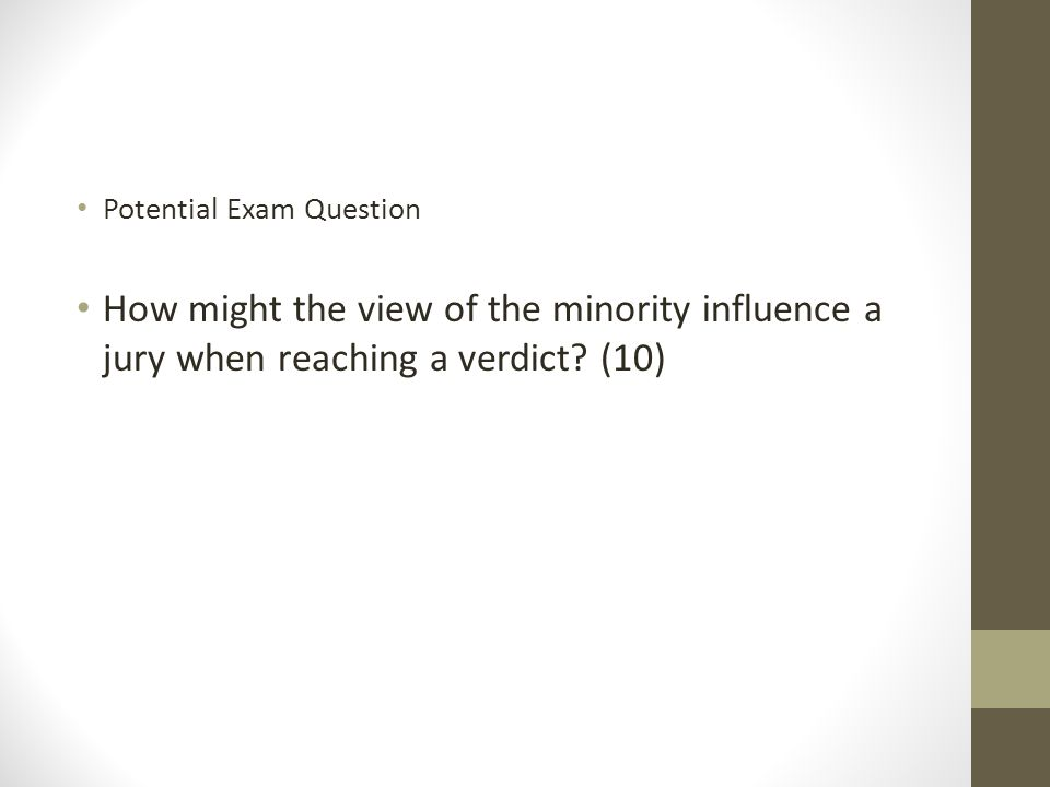 Potential Exam Question