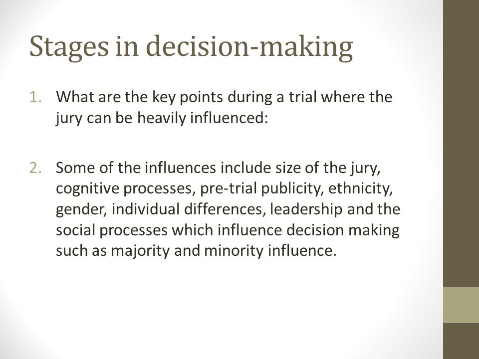 Stages in decision-making