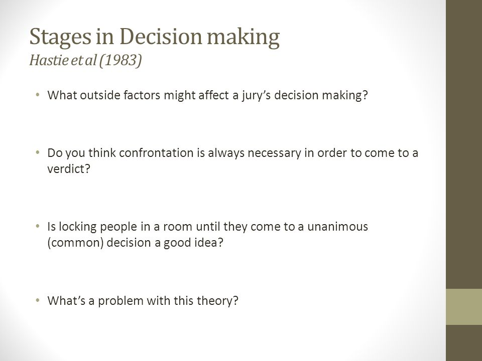 Stages in Decision making Hastie et al (1983)
