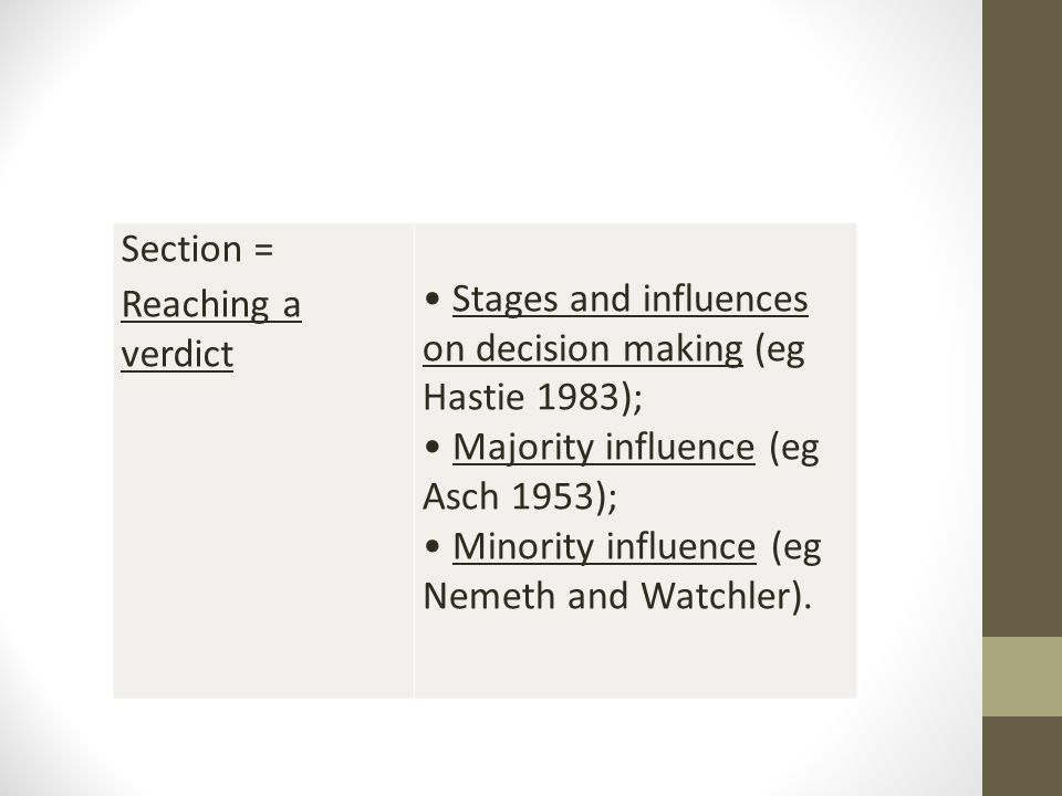 Section = Reaching a verdict. • Stages and influences on decision making (eg Hastie 1983); • Majority influence (eg Asch 1953);