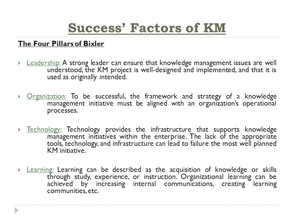 14 Success Factors Of KM The