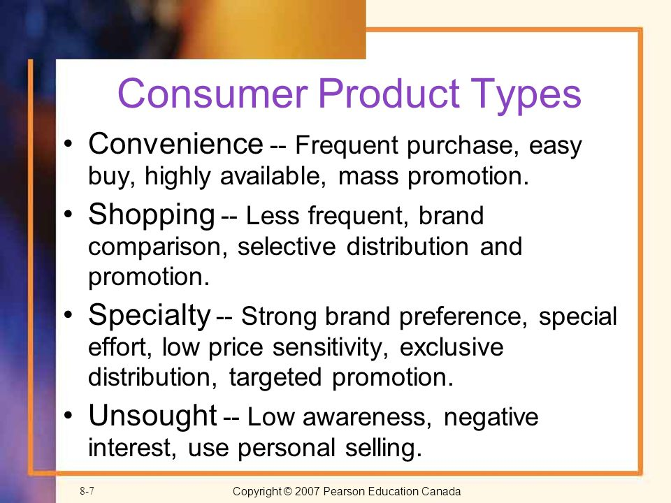 Consumer Product Types