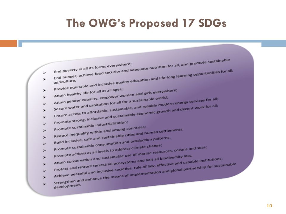 The OWG's Proposed 17 SDGs