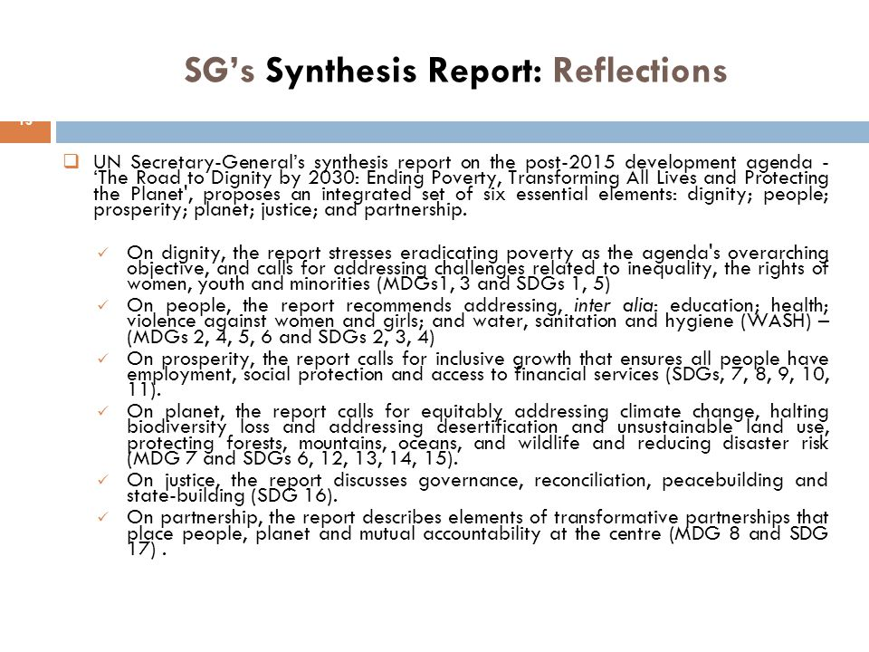 SG's Synthesis Report: Reflections