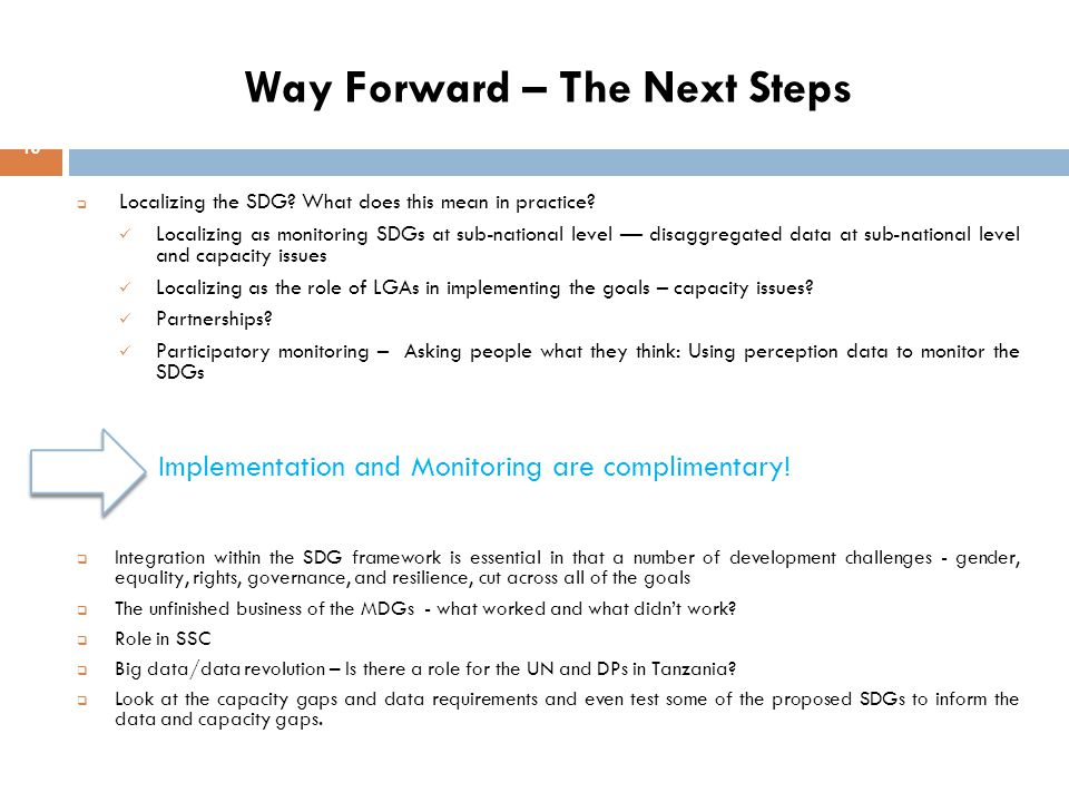 Way Forward – The Next Steps