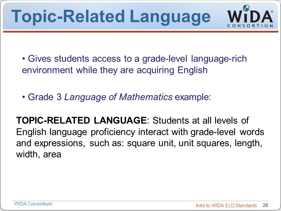 Introduction To The Wida English Language Development Standards