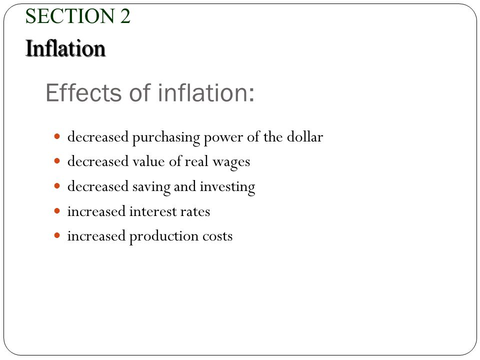 Effects of inflation: Inflation SECTION 2