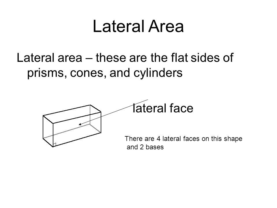 Lateral Area Lateral area – these are the flat sides of prisms, cones, and cylinders. lateral face.