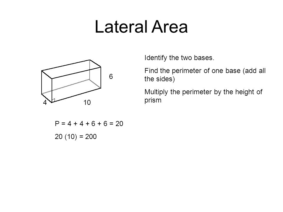 Lateral Area Identify the two bases.