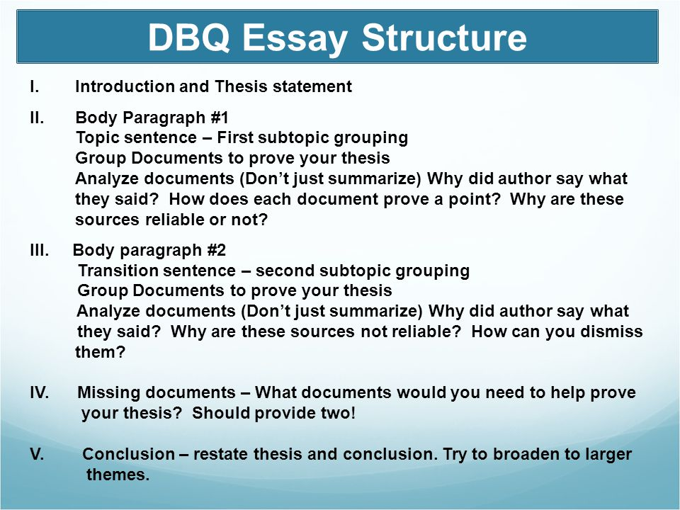 develop thesis statement dbq How to write a dbq  this handout describes what a thesis statement is, how thesis statements  it is likely that you are being asked to develop a thesis.
