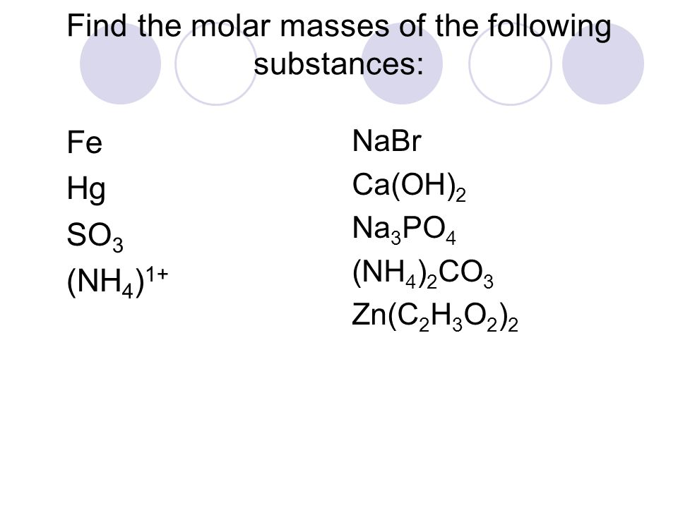 Find the molar masses of the following substances: