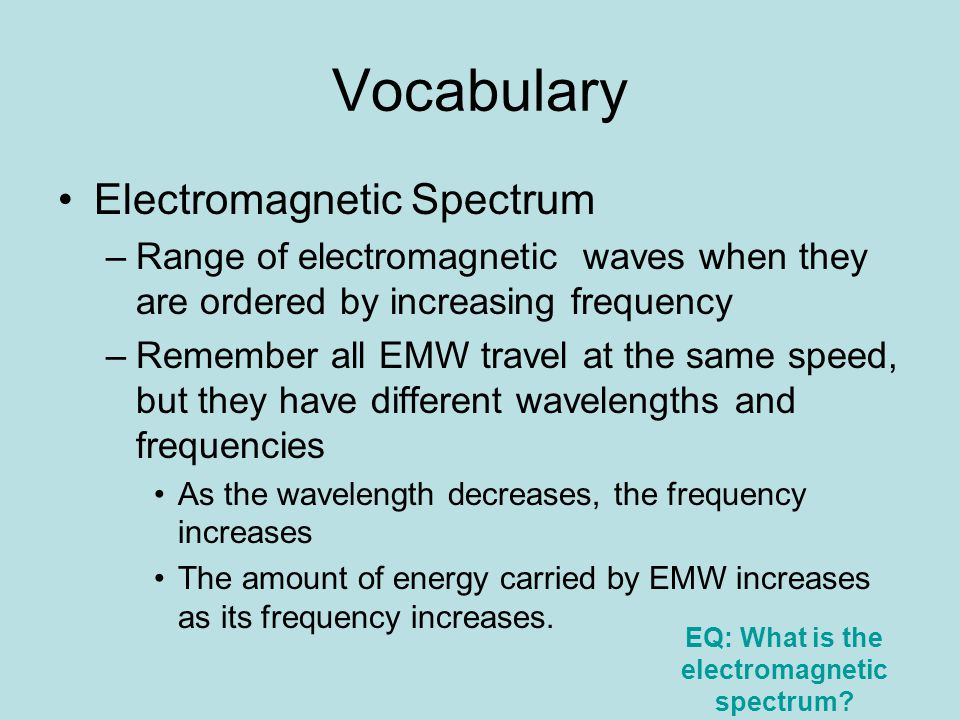 EQ: What is the electromagnetic spectrum