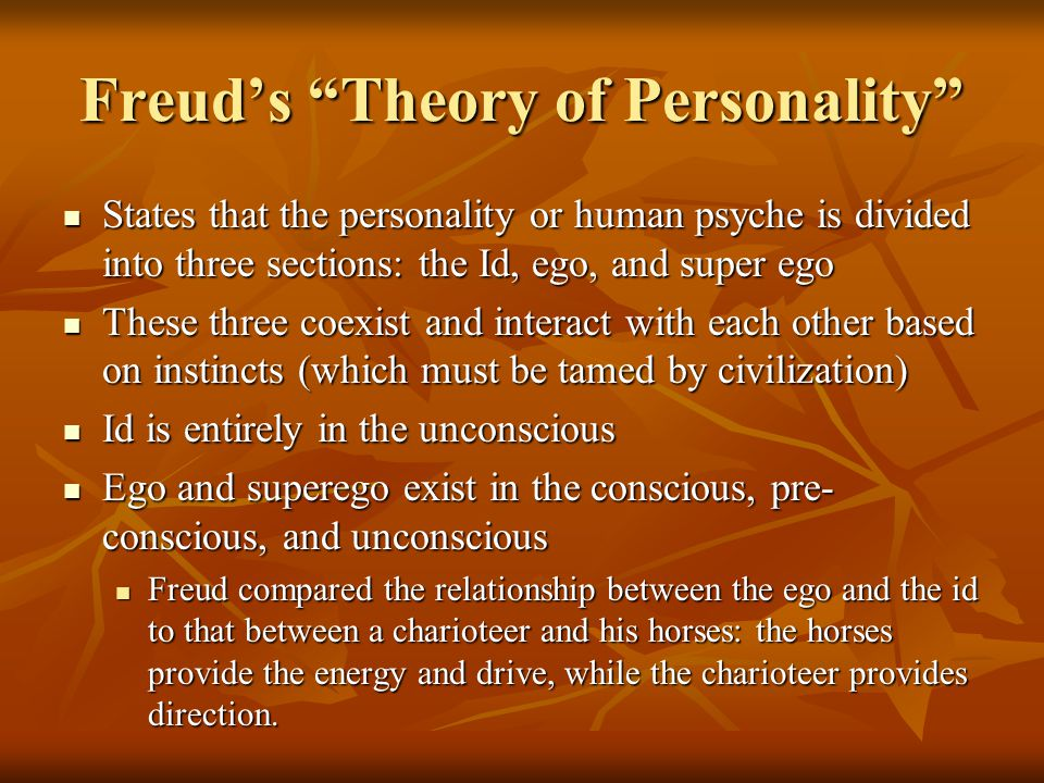 critical analysis of freuds theory of personality Sigmund freud (1856-1939) developed some of the most influential theories in modern psychology and psychoanalysis his division of the mind into the conscious and unconscious components have driven research on the brain into very specific directions, and his contributions extend into the field of neuroscience, as well.
