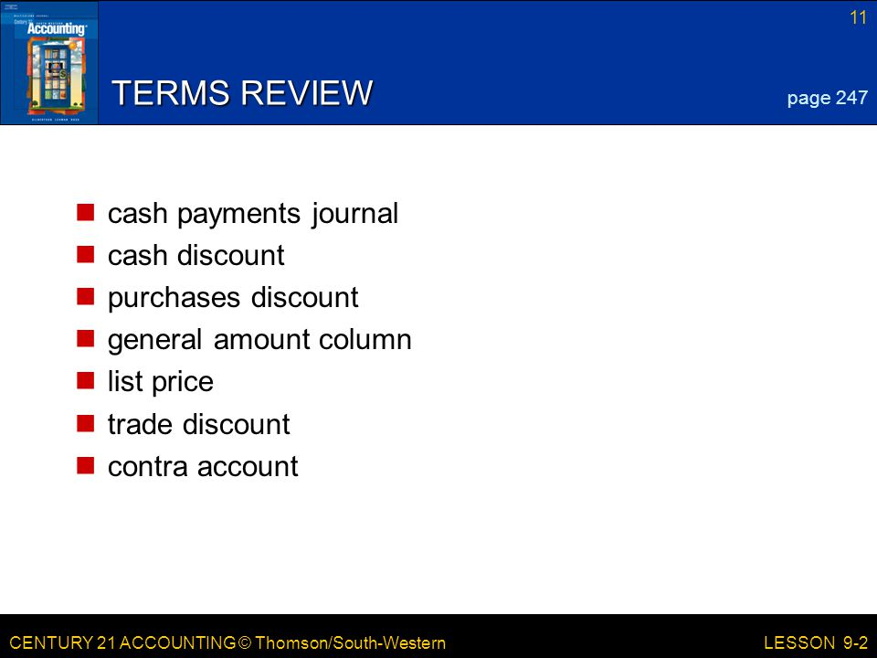 TERMS REVIEW cash payments journal cash discount purchases discount