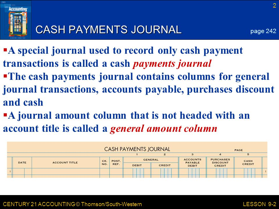 CASH PAYMENTS JOURNAL page 242. A special journal used to record only cash payment transactions is called a cash payments journal.
