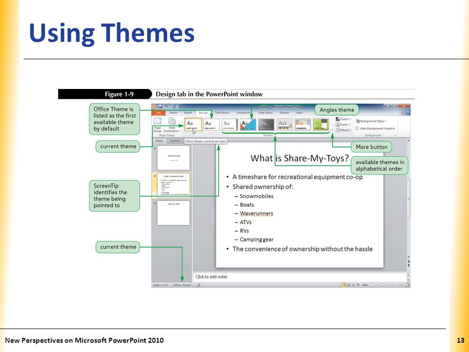 Using Themes New Perspectives on Microsoft PowerPoint 2010