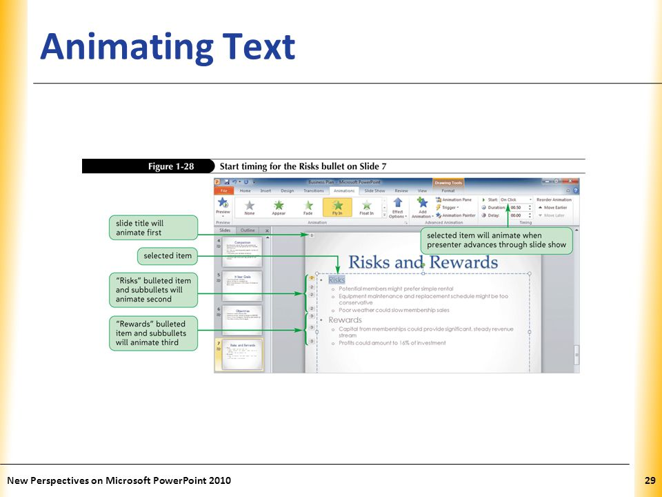 Animating Text New Perspectives on Microsoft PowerPoint 2010