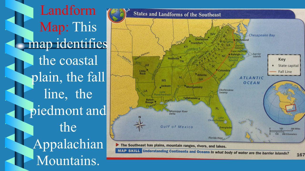 Lesson 2 coastal plains to the mountains ppt video online download 9 landform map this map identifies the coastal plain the fall line the piedmont and the appalachian mountains freerunsca Image collections