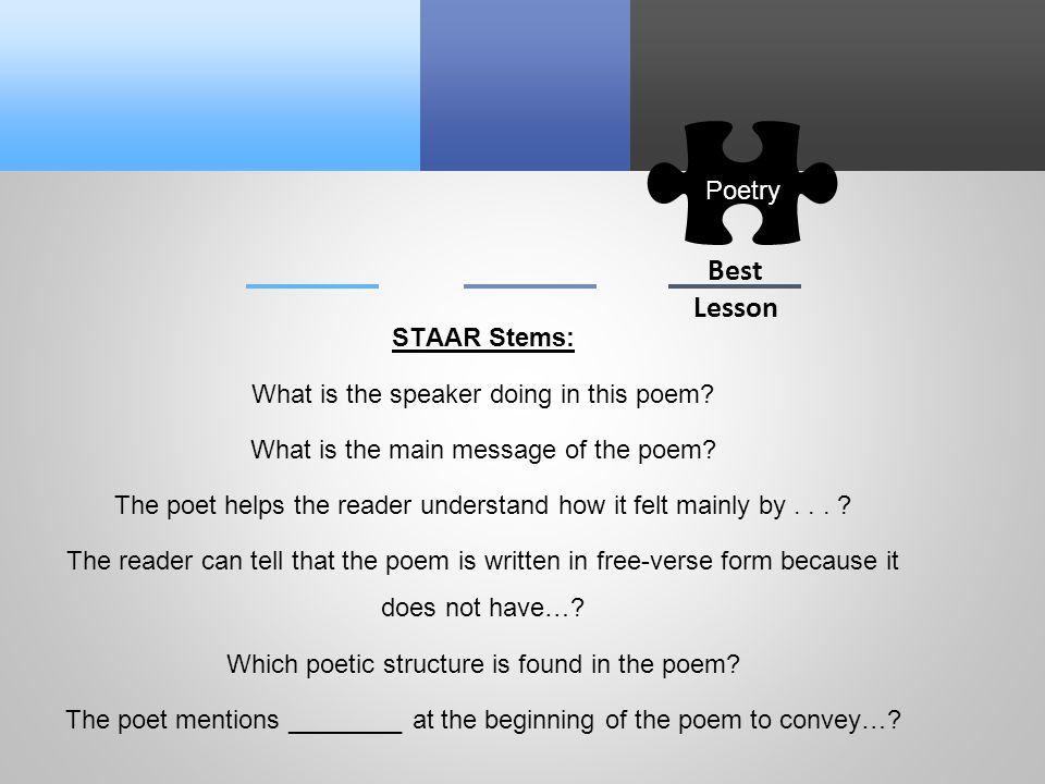 Reading Poetry 3 6 A 4 4 A 5 4 A TEKS TEKS TEKS Ppt