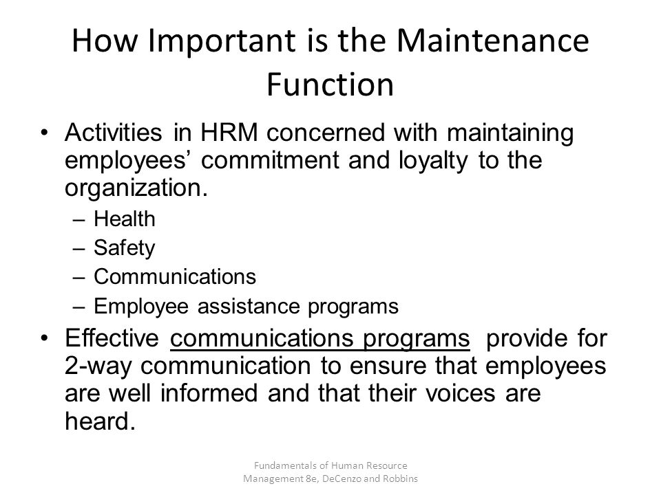How Important is the Maintenance Function