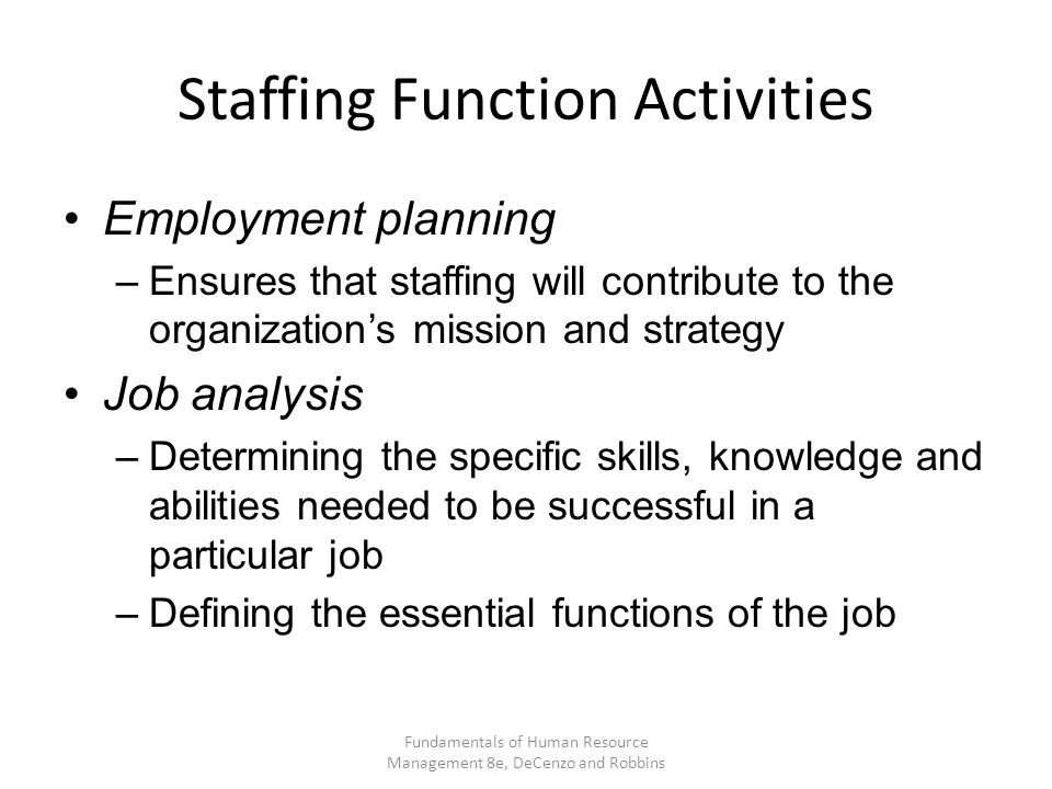 Staffing Function Activities